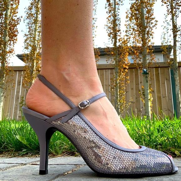 Naturalizer Silver Sequins Slingback Sandals